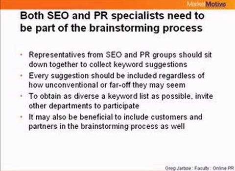 Greg Jarboe – Press Release Optimization: Choosing & Positioning Keywords